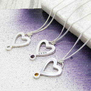 Personalised Birthstone Heart Necklace