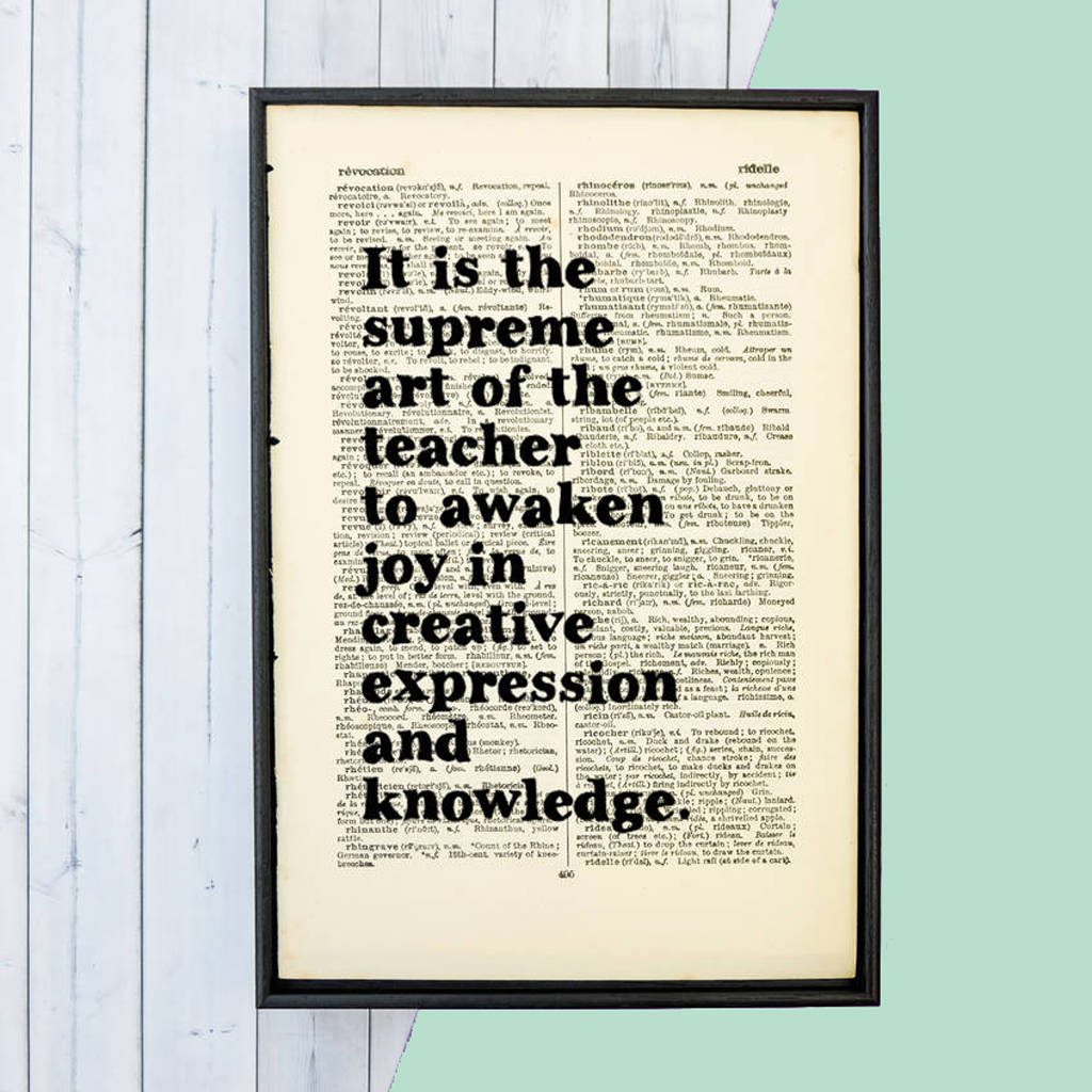 thank you teacher gift einstein supreme art of the teacher book quote print - Teacher Pictures To Print