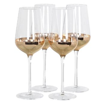 Set Of Four Copper Plated Red Wine Glasses