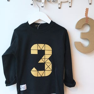 Kids Long Sleeve Black Birthday Geometric T Shirt - clothing
