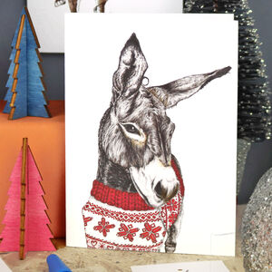 'Santa's Helper' Donkey Christmas Card