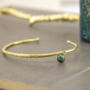 Textured Gold Turquoise Cuff Bracelet - bracelets & bangles
