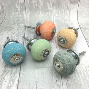 Textured Ceramic Door Knobs Vintage Cupboard Handles - door knobs & handles