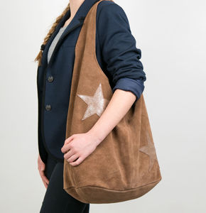 Suede Star Shoulder Sack Bag