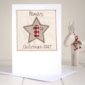 Personalised Star 1st Christmas Card - cards