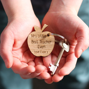 Teacher's Personalised Apple Keyring