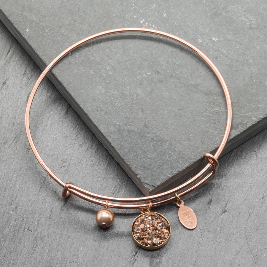 Druzy Rose Gold Plated Charm Bracelet