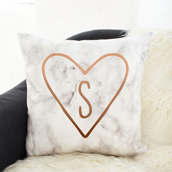 Personalised Initial Heart Marble Cushion
