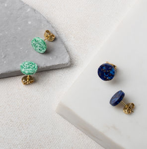 Dot Round Glass Studs - earrings