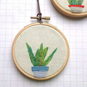 Plant Succulent Hand Embroidered Hanging Wall Hoop