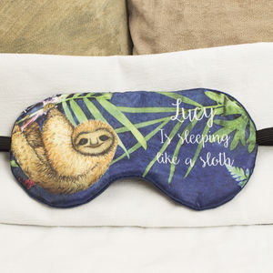 Personalised Sloth Sleeping Eye Mask, Travel Gift - eye masks & neck pillows