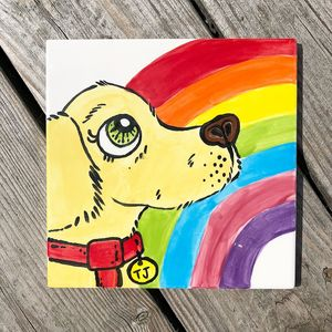 Pet Portrait Memorial Ceramic Tile - paintings