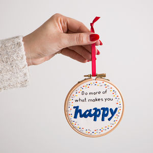 'What Makes You Happy…' Embroidery Hoop Art - gifts for her sale