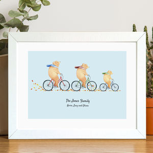 Personalised Bears On Bikes Family Print