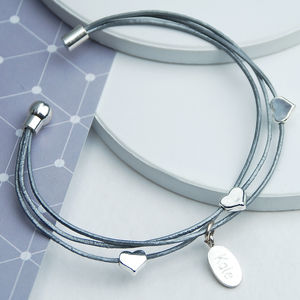 Three Strand Silver Heart Leather Bracelet - personalised jewellery