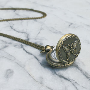 Butterfly Locket Clock Necklace