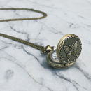 Butterfly Locket Clock Necklace