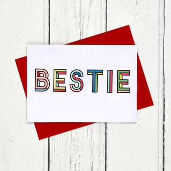 Bestie Colourful Typographic Card