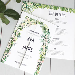 Floral Arch Wedding Invitation Gate Fold - wedding stationery