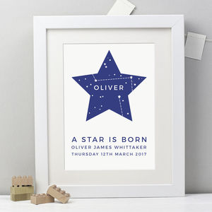 Personalised 'A Star Is Born' New Baby Print - prints & art sale