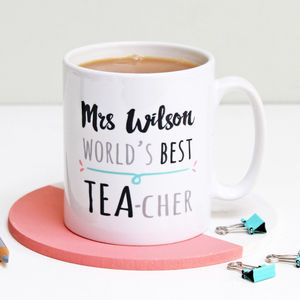 Personalised World's Best Teacher Tea Mug - gifts for teachers