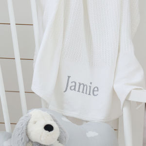 Personalised White Cellular Blanket - baby's room