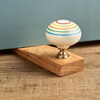 Colourful Ceramic Solid Oak Wedge Door Stops