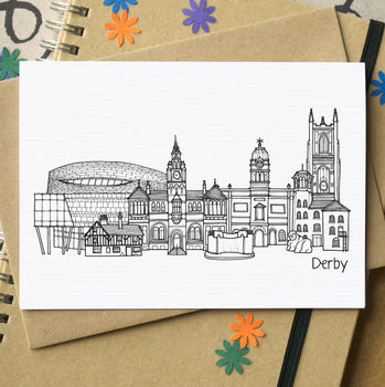 Derby Skyline Cityscape Greetings Card