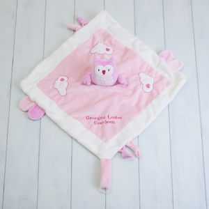 Personalised Owl Comforter Blanket In Pink - baby care