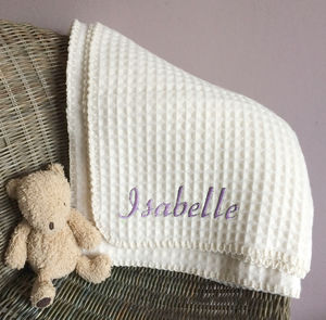 Personalised Lambswool Waffle Baby Blanket - cot bedding