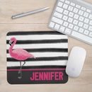 Personalised Flamingo And Stripes Mouse Mat