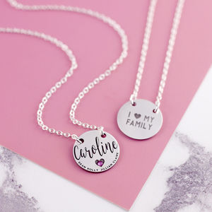 Sterling Silver Mum Necklace With Engraved Names