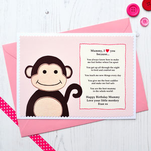 'Mummy / Nanny I Love You Because' Monkey Birthday Card