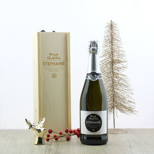 Christmas Personalised Prosecco And Wooden Gift Box - personalised gifts