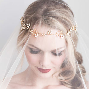 Five Daisy Bridal Hair Vine
