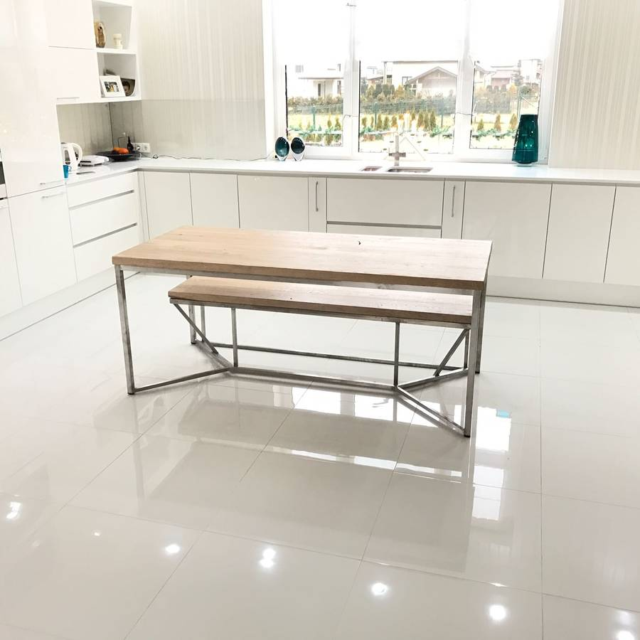 solid oak stainless steel dining table by cosywood rh notonthehighstreet com