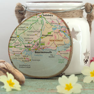 Favourite Place Map Print On Natural Wood Slice