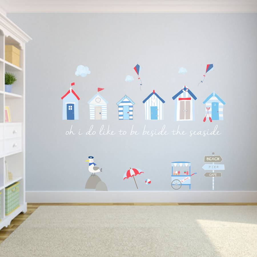 Beach huts fabric wall stickers by littleprints for Beach wall mural sticker