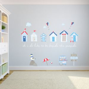 Beach Huts Fabric Wall Stickers - children's room