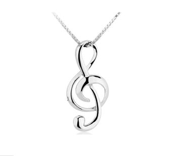 Silver Musical Note Pendant Necklace