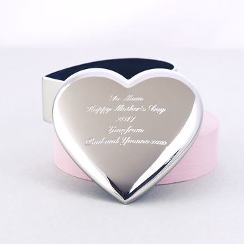 Engraved Heart Shaped Trinket Box