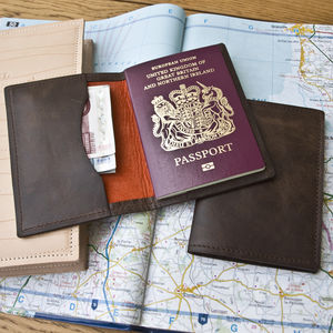 Leather Passport Travel Wallet - 3rd anniversary: leather