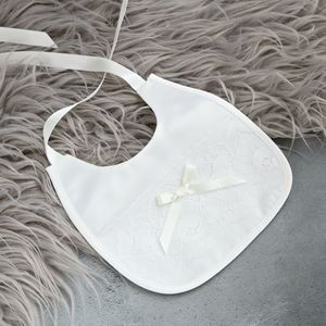 Holly Duchess Satin And Lace Christening Bib - christening wear