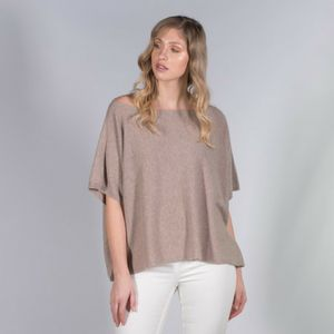 100% Cashmere Beige Boat Neck Poncho Jumper - women's fashion