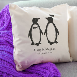Personalised Penguin Pairs Cushion / Round Or Square