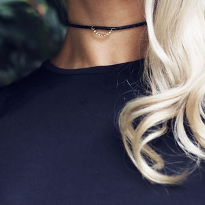 Esther Gold Cubic Star Black Leather Choker - chokers