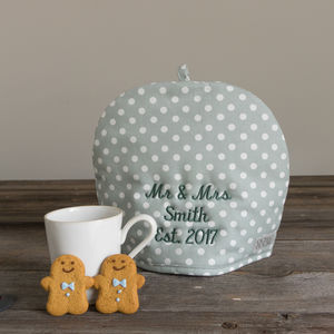 Personalised Embroidery Madelaine Sage Tea Cosy