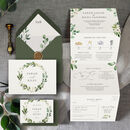 White Floral Concertina Wedding Invitation