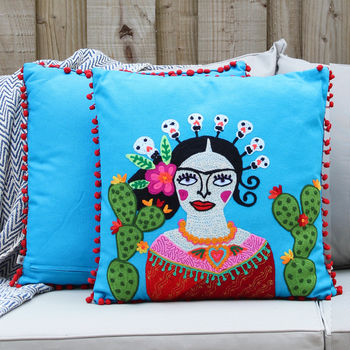 Frida Kahlo Cactus Pom Pom Cushion