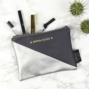 'Upgrade Please' Faux Leather Bag - make-up & wash bags